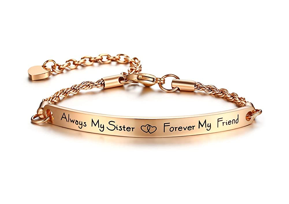 PJ Jewelry Always my Sister Forever my Friend Inspirational Quote Bar Bracelet,Bridesmaids Gift