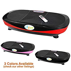 Clevr Fitness Whole Body Vibrating Platform Exercise Machine, 360 Degree Shake, 3D Dual Motor Full Body Oscillation Vibration with Remote Control & Resistance Bands, Red/Black/Pink