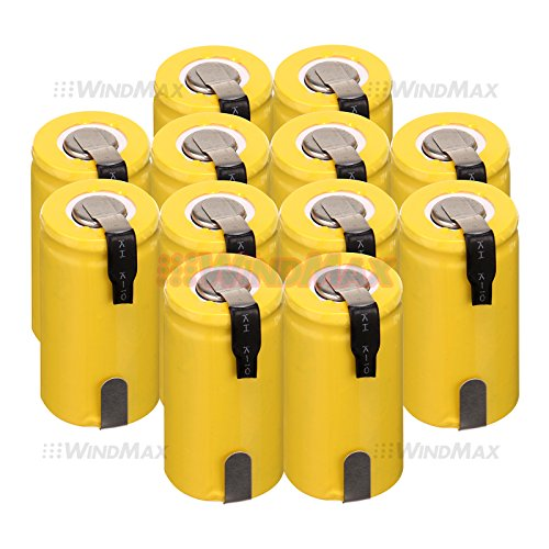 WindMax® US SELLER Yellow Color 12 PCS 1.2V 1300mAh Ni-Cd NiCd Rechargeable Battery Batteries Sub C SC with Tabs (12 Sub C Battery)