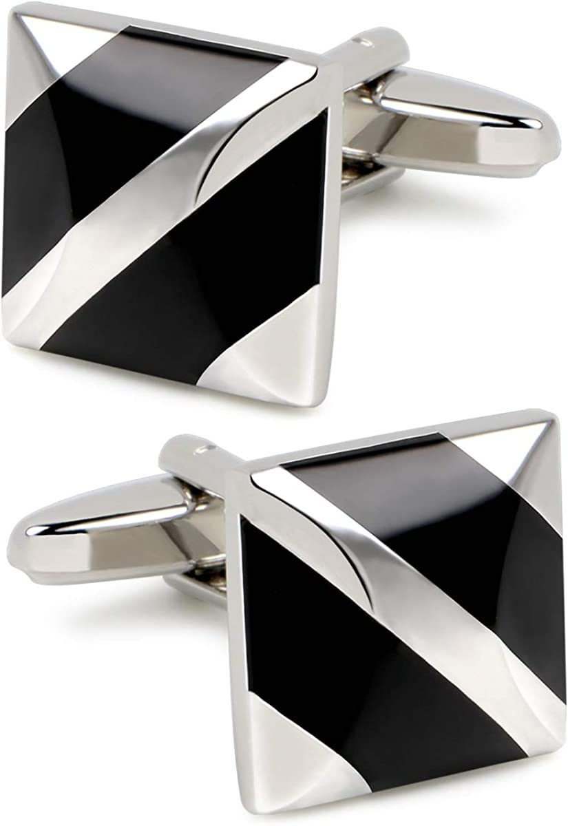 VIILOCK Mens Square Mother of Pearl Cufflinks Set for Tuxedo Shirts Business Wedding