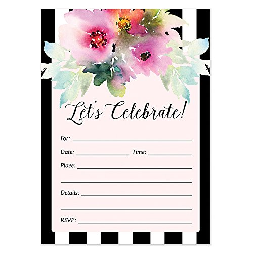 (25 Invitations with Envelopes (Pack of 25) Bridal Shower, Baby Shower, Wedding, Rehearsal Dinner Invites, Engagement, Anniversary, Graduation, Birthday Party Invites Excellent Value VI0015B)
