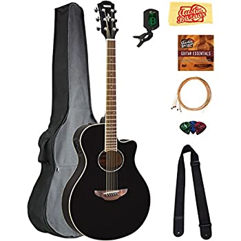 yamaha apx600 thin body acoustic electric guitar black bundle with gig bag tuner. Black Bedroom Furniture Sets. Home Design Ideas