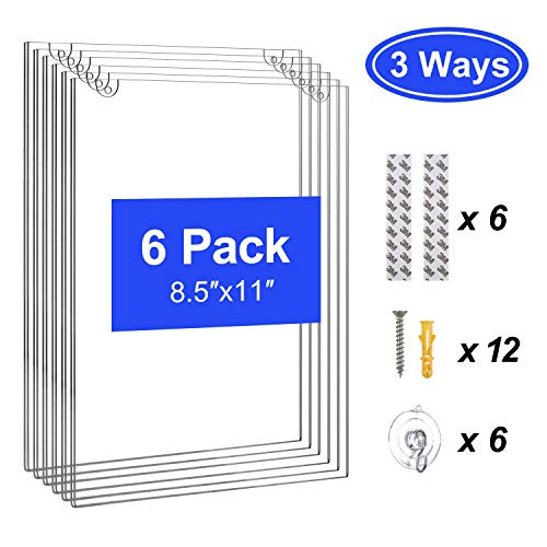 T-SIGN Acrylic Wall Sign Holder 8.5 x 11 Inches, Clear Paper Document Holder, Wall Mount Ad Frame, 6 Pack with 3M Tape Adhesive, Suction Cups and Mounting Screws