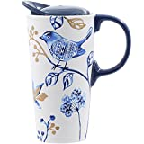 CEDAR HOME Travel Coffee Ceramic Mug Porcelain Latte Tea Cup With Lid in Gift Box 17oz. Blue Bird
