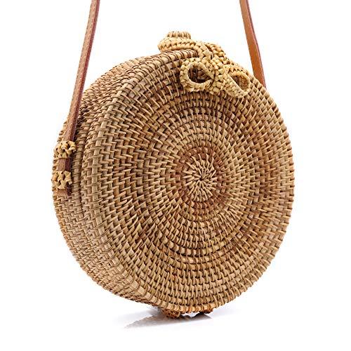 RATTAN NATURALS Handwoven Round Rattan Crossbody Bag Genuine 100% Leather Strap