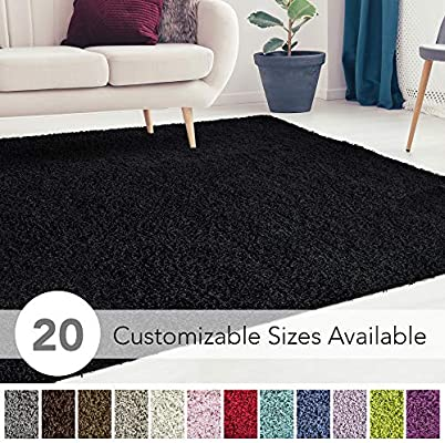 Icustomrug Cozy And Soft Solid Shag Rug 8x8 Black Square Area Rug Ideal To Enhance Your Living Room And Bedroom Decor