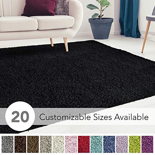 iCustomRug Cozy and Soft Solid Shag Rug 8X10 Black Ideal to Enhance Your Living Room and Bedroom Decor (Area Black Rug 8x10)