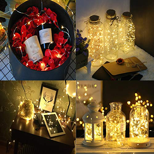 HAOSEE 24 Pack Led Fairy Lights Battery Operated,3.3Ft 20 LED Silver Wire Warm White Firefly Lights,Waterproof Mini Starry String Lights Twinkle Lights for Wedding Party Mason Jars DIY Christmas Decor by HAOSEE (Image #4)