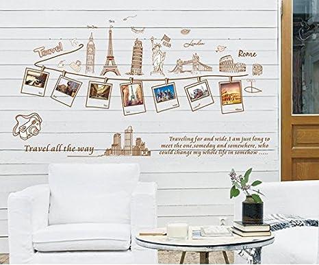 ufengke® Recuerdos de Viaje Creativo Cuadro Foto Pegatinas de Pared, Sus Lugares de Interés, Sala de Estar Dormitorio Removible Etiquetas de la pared ...