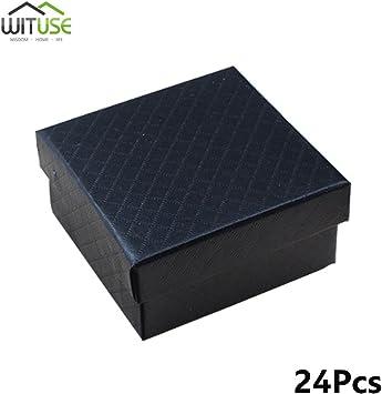 24 cajas de regalo cuadradas negras para pulsera, collar, joyería ...
