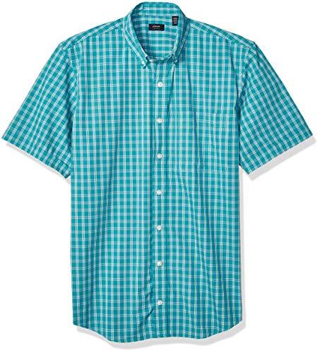- Arrow 1851 Men's Big and Tall Hamilton Poplins Short Sleeve Button Down Plaid Shirt,  green/blue slate, 3X-Large Tall