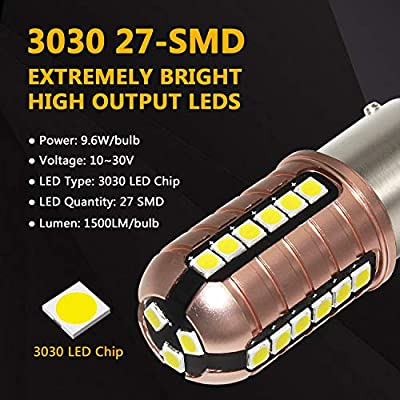 Phinlion 2057 LED White Bulb 3000 Lumens Super Bright 3030 27-SMD BAY15D 7528 2357 1157 LED Bulbs for Back Up Reverse DRL Brake Stop Tail Lights, 6000K Xenon White: Automotive