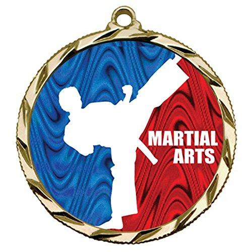 Gold Medal Martial Arts - Express Medals Gold 1st Place Martial Arts Medal with Neck Ribbon Award 022 5PK