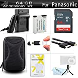 64GB Accessories Kit For Panasonic ZS50, DMC-ZS45K, DMC-ZS40K, DMC-ZS35K DMC-ZS30, DMC-TS6 Digital Camera Includes 64GB High Speed SD Memory Card + Replacement DMW-BCM13E Battery + Charger + Case