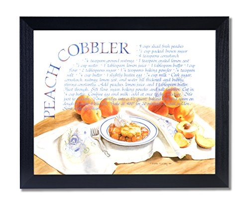 Peach Cobbler Pie Home Kitchen Recipe Cafe Picture Black Framed Art Print