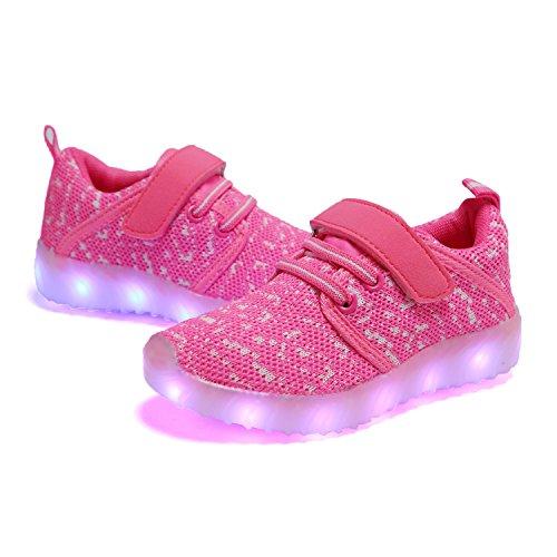 TULUO Kinder u. Jungen u. Mädchen LED-Schuhe USB-aufladenSneakers Kinder Blinkende Trainers Pink1