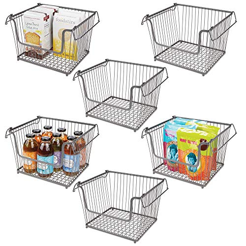 (mDesign Modern Stackable Metal Storage Organizer Bin Basket with Handles, Open Front for Kitchen Cabinets, Pantry, Closets, Bedrooms, Bathrooms - Large, 6 Pack - Graphite Gray)