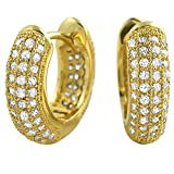 Gold 3D Rounded Hoop Earrings CZ Micro Pave Set