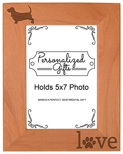 Basset Hound Gifts Paw Prints Dog Owner Love Natural Wood Engraved 5x7 Portrait Picture Frame (Basset Hound Dog Portrait)