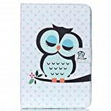 For Samsung Galaxy Tab A / T350 (8.0 inch) Case Wallet FocusUp Popular Design PU Leather Auto Wake/Sleep Style Cover Card Slot Folio Flip Protective for Tablet (Cute Owl)