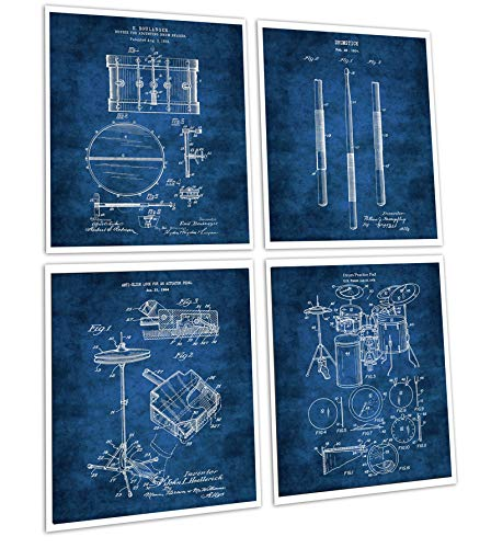 Gnosis Picture Archive Drum Poster Set of 4 Unframed Art Prints Drummer Gifts Drum Patents Drumming_Blue4B ()