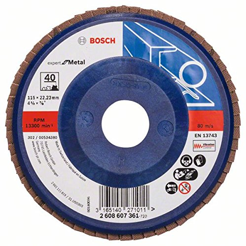 Bosch 2608607364 Metal Prof 115mm Flap disc Straight Plastic G120, Blue/Brown