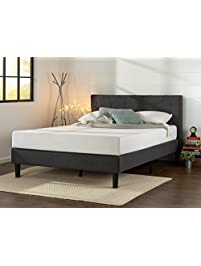 zinus upholstered diamond stitched platform bed with wooden slat support queen - Queen Bed Frames