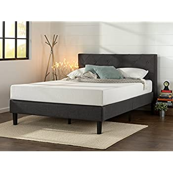 zinus upholstered diamond stitched platform bed with wooden slat support queen - Queen Upholstered Bed Frame