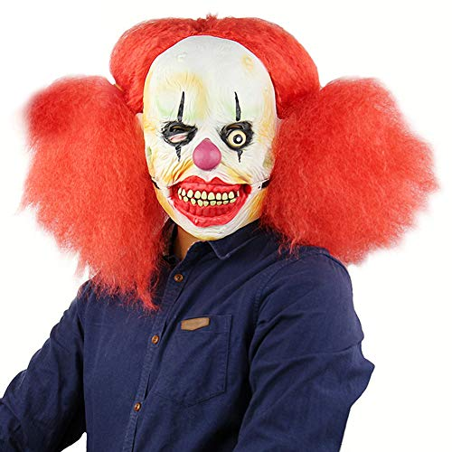 elegantstunning Clown with Red Pigtails Mask Latex Halloween Scary Mask Cosplay -
