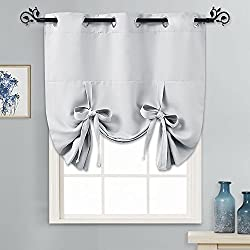 "PONY DANCE Greyish White Tie Up Shades Heavy-Duty Thermal Insulated Grommet Top Room Darkening Curtain Panel/Window Treatments Drapery for Kitchen, 46"" Wide by 63"" Long, 1 Pc"