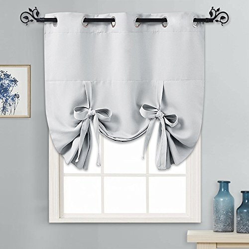 """PONY DANCE Greyish White Tie Up Shades Heavy-Duty Thermal Insulated Grommet Top Room Darkening Curtain Panel/Window Treatments Drapery for Kitchen, 46"""" Wide by 63"""" Long, 1 Pc"""