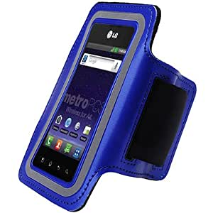 Blue Black ArmBand Workout Case Arm Band Cover Screen protector For LG Optimus M+ MS695 with Free Pouch