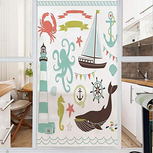 Decorative Window Film,No Glue Frosted Privacy Film,Stained Glass Door Film,Decorative Illustrations Nostalgia Cartoon Artwork Seaside House Knot Light,for Home & Office,23.6In. by 59In