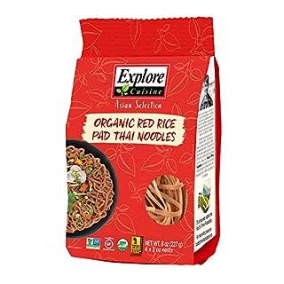Explore Cuisine Organic Red Rice Pad Thai Noodles - 8 oz - Healthy Pasta Alternative, Gluten Free, Easy to Make - USDA Certified Organic, Vegan, Kosher, Non GMO - 4 Servings