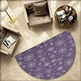 Eggplant Semicircle Doormat Christmas Inspired Cute Flowers Snowflakes and Swirls in a Violet Delicate Environment Halfmoon doormats H 55.1'' xD 82.6'' Violet