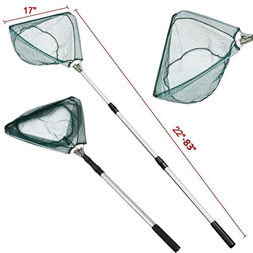 ALL WONDER Folding Aluminum Fishing Landing Net Fish Net with Extending Telescoping Pole HandleCustomized For Fish Below 5 Pounds (83)