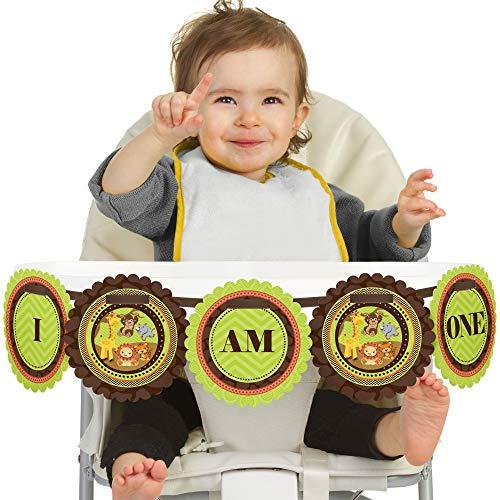 Safari 1st Birthday - Big Dot of Happiness Funfari - Fun Safari Jungle 1st Birthday - I Am One - First Birthday High Chair Banner