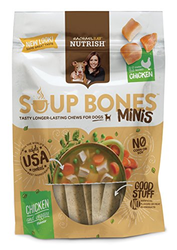 Rachael Ray Nutrish Soup Bones Minis Dog Treats, Real Chicken & Veggies Flavor, 6 Bones, 4.2 oz, Pack of 8