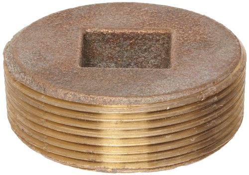 Anderson Metals Brass Threaded Pipe Fitting, Countersunk Plug with Square Drive, 1-1/2