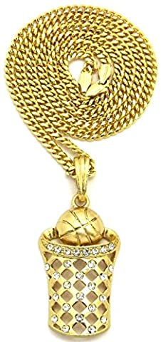 GWOOD Basketball Iced Out Small Pendant 24 Inch Necklace Gold Color Cuban Style Chain (Chief Keef Pendant)