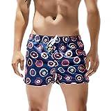 Mnyycxen Men's Swimsuit Swim Trunks Watershort Swimwear Stripes Board Shorts Bathing Suits with Side Pockets