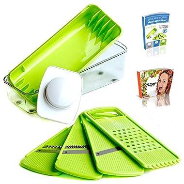 Mandoline Slicer - Food Slicer - Vegetable Slicer - Cheese Slicer - Premium Stainless Steel Blades - Food Safe Plastic - Compact, Lightweight & Versatile - Healthy Meals