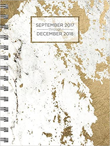 2018 Gold Marble Daily Weekly Monthly Planner, 16 Month ...