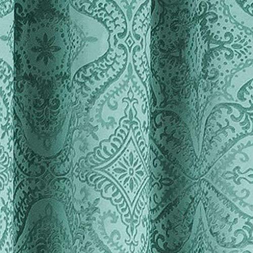 36 x 96 Teal Blue Kelvin Courtney Paisley Blackout Darkening Window Curtain 2 Panel