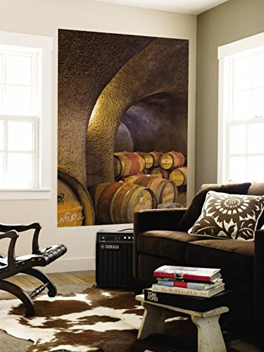 Barrels in Cellar at Long Meadow Ranch Winery, Ruthford, Napa Valley, California, USA Wall Mural by Janis Miglavs 48 x 72in