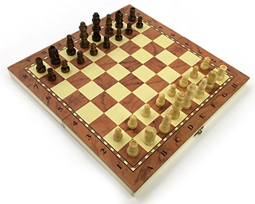 Chess Set Fold Away Board Quality Handmade Wooden Pieces Complete FIDE...