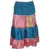 Mogul Interior Women's 2 in 1 Strapless Dress Skirts Patchwork Ruched Waist Printed Sari Boho Chic
