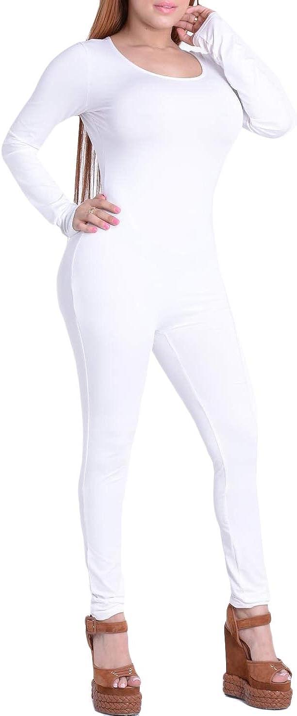 Womens Skinny Fit Clubwear Bodysuit Long Sleeves Jumpsuit