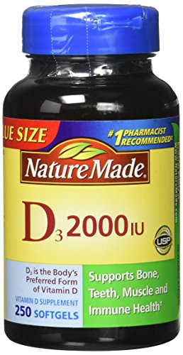Nature Made, Vitamin D3 2,000 I.U. Liquid Softgels, 250-Count (Pack of 3)