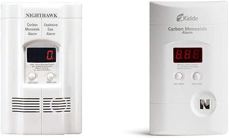Kidde AC Plug-in Carbon Monoxide and Explosive Gas Detector Alarm   Nighthawk Sensor Technology   Model # KN-COEG-3 & Nighthawk Plug-in AC/DC Carbon Monoxide Alarm Detector with Digital Display